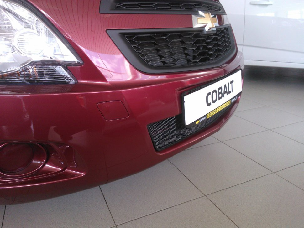 Защитная сетка радиатора Chevrolet Cobalt 2013- black верх - купить в Екатеринбурге по выгодной цене